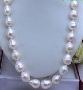 """Belle 10-12 mm South Sea Baroque Perle Blanche Collier 18/"""" AAA"""