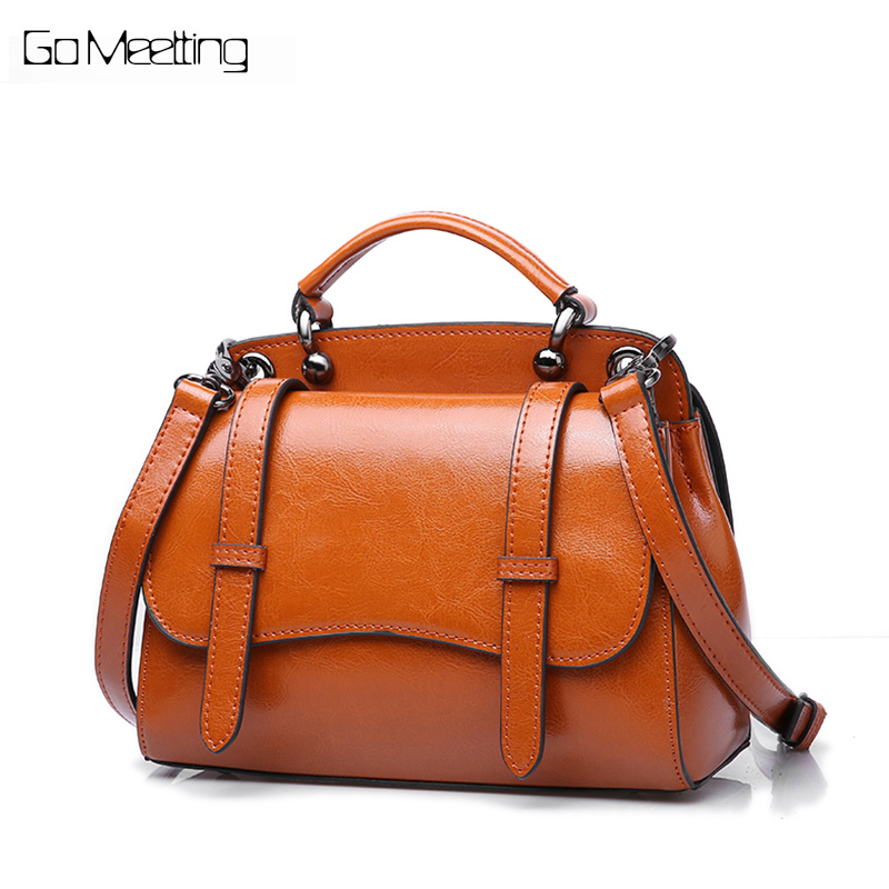 Go Meetting Women Genuine Leather Handbag High Quality Retro Women Messenger Bags Bolsa Feminina Designer Shoulder Crossbody Bag 2017 fashion new high quality women designer shoulder bag beauty bow women retro handbag boston messenger bags genuine leather