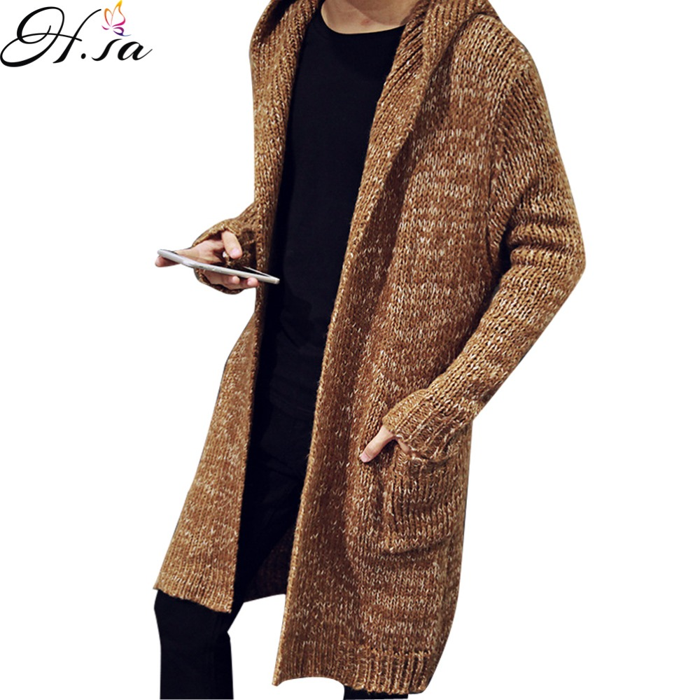 2016 Autumn Winter Mens Long Sweater Cardigans New Fashion Oversized