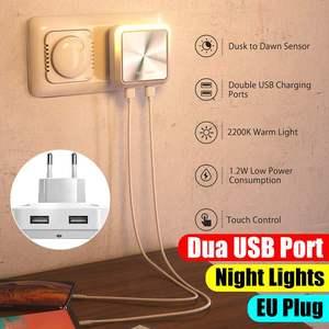 Image 2 - BlitzWolf BW LT14 DC 5V 2.4A Plug in Portable Smart Lighting Sensor LED Night Light Dual USB Charging Eu Plug Smart Socket