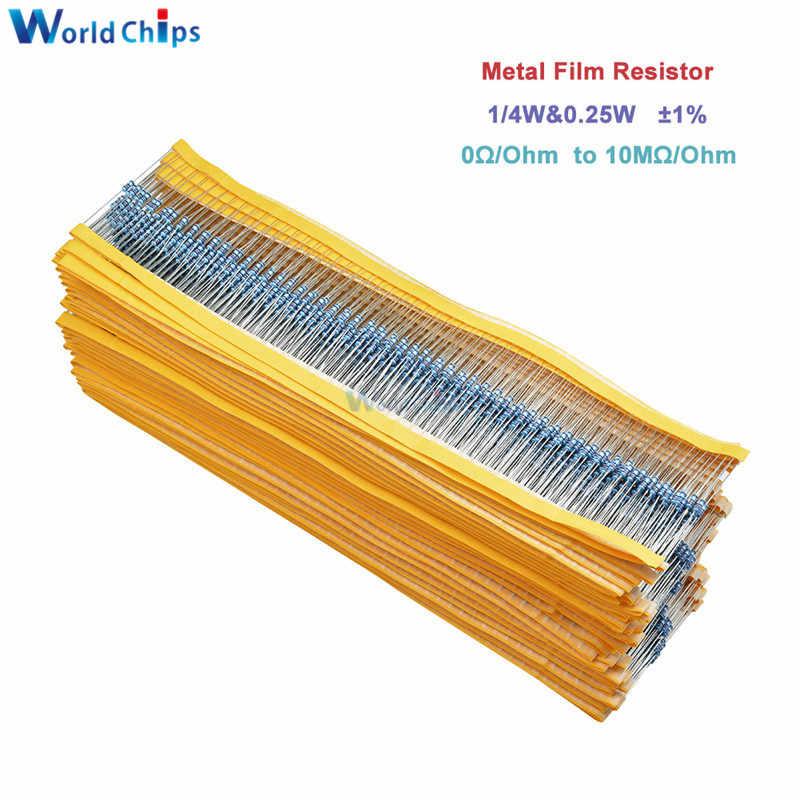 100 Uds resistencia de película de Metal 1/4W 0,25 W 0 ~ 10M Ohm 1% 100R 220R 1K 1,5 K 2,2 K 4,7 K 10K 22K 47K 100K 100, 220, 220 ohm 1M resistencia