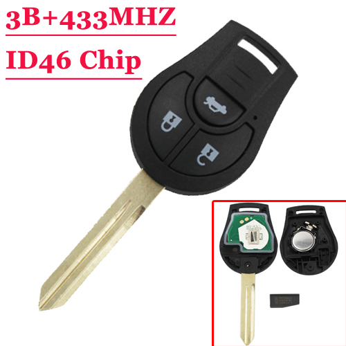 Free shipping 3 button New Replacement Remote Headed Key Keyless Entry Ignition Car Fob Uncut for N-issan (1piece) new carburetor for n issan z20 gazelle silvia datsun pick up ca
