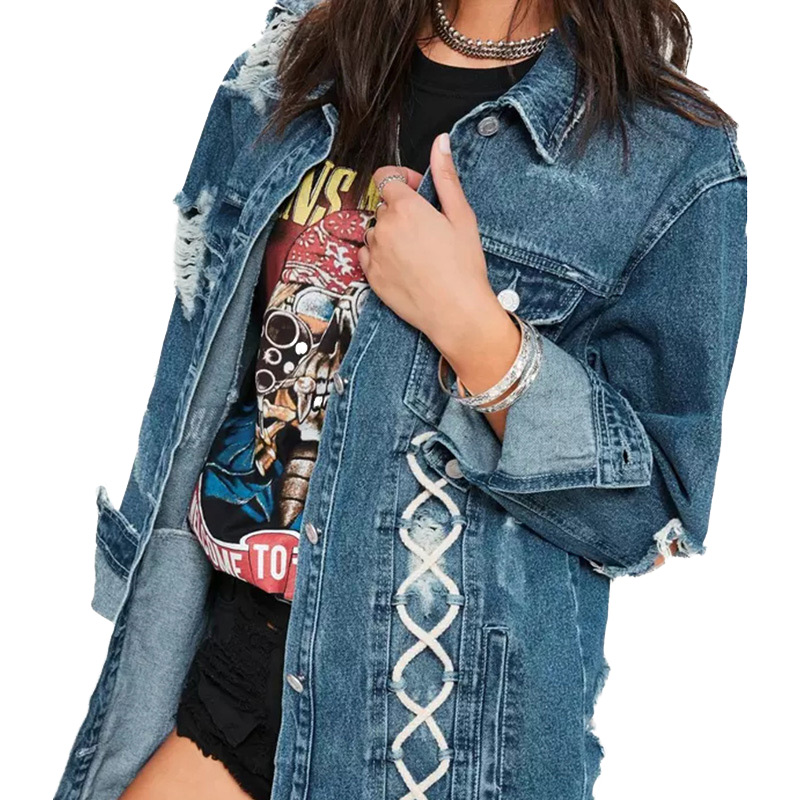 Veste en jean Pas Cher en gros 2018 nouvel été Manches longues Col rabattu vente Chaude femmes mode décontracté Régulier Manteau