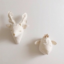 Fashion Cute 3D Animals Sheep Deer Unicorn Head Room Wall Decoration Soft Artwork Toys Gifts For Kids Children