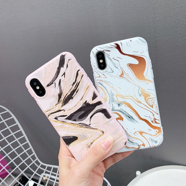 Luxury Marble Phone Case For iPhone X XS XR MAX Case For iPhone 7 7plus 6 6S 8 Plus Painted Soft TPU Case Cover