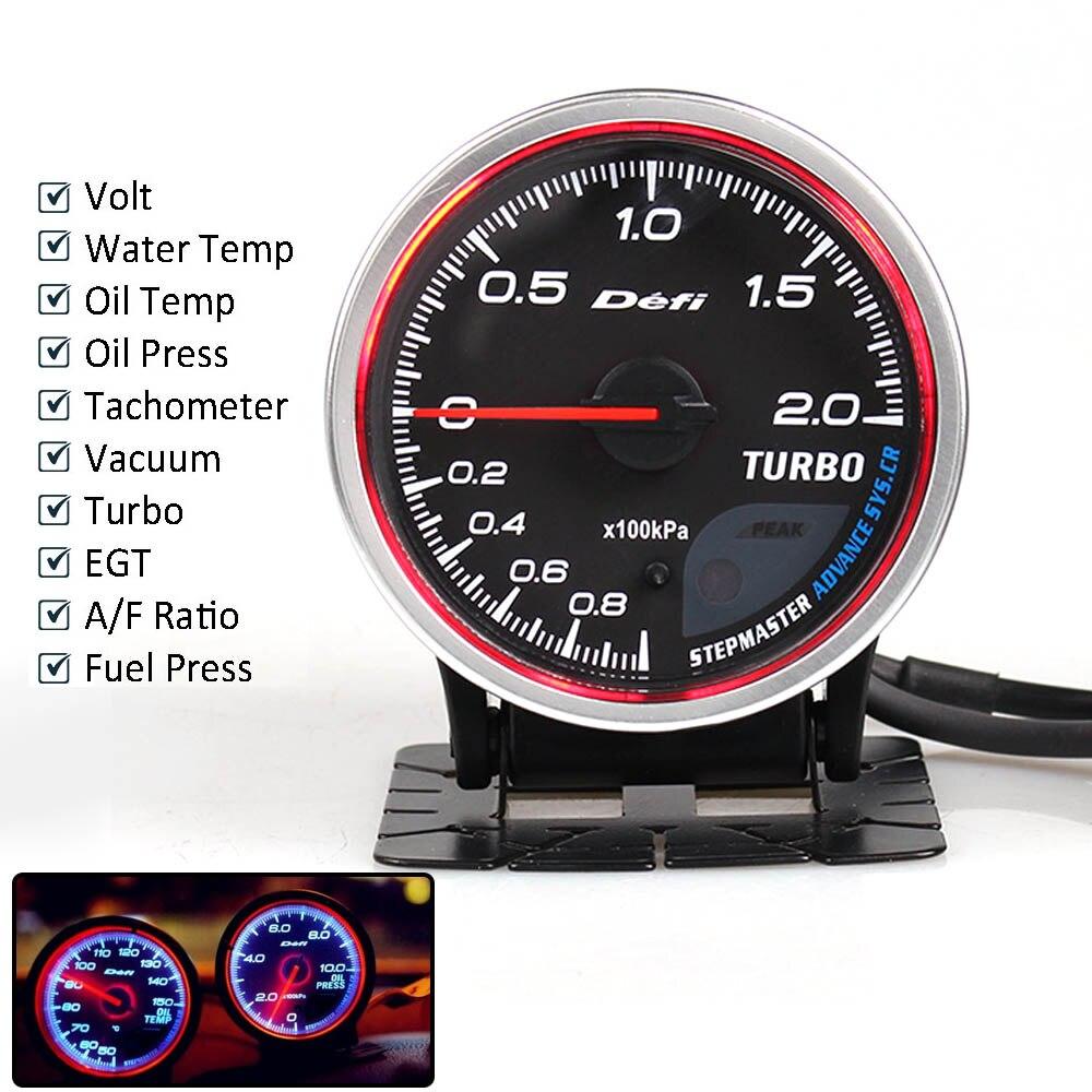 Defi Advance CR 2,5 дюймов 7 цветов датчик температуры масла турбо Boost температура воды Масляный Пресс об/мин вакуумный EXT Температура топлива пресс Датчик с датчиком