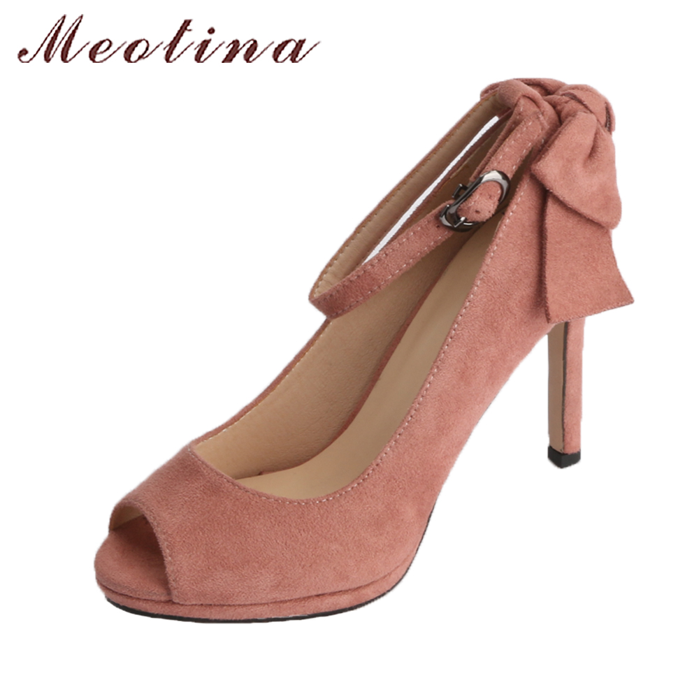 Meotina High Heels Women Spring Platform Shoes Pumps Ankle Strap Party Shoes Peep Toe Thin High Heels Bow-knot 2018 Shoes Ladies meotina high heels shoes women wedding shoes platform high heel pumps ankle strap bow spring 2018 shoes white pink big size 43