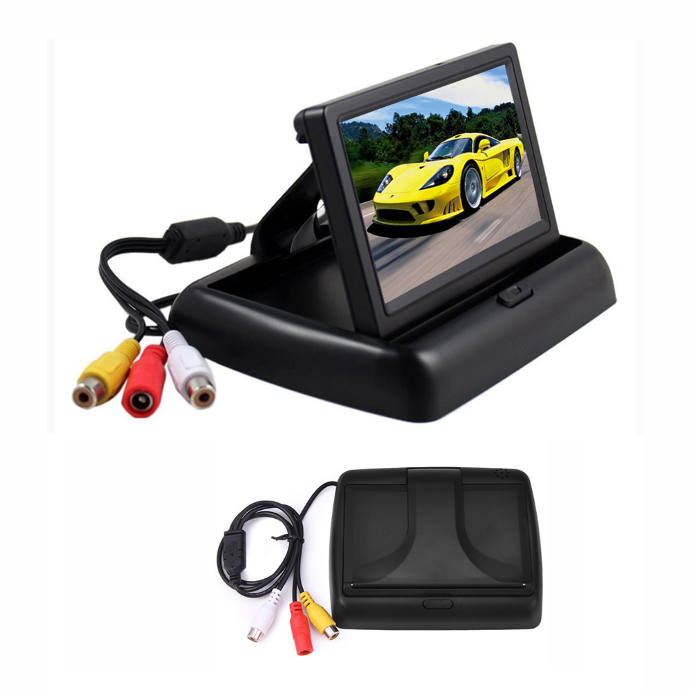 Image 3 - Hikity 4.3 אינץ מתקפל רכב צג TFT LCD תצוגת מצלמות הפוכה מצלמה חניה מערכת לרכב Rearview מוניטורים/מצלמהצגים לרכב   -