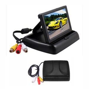Image 3 - Hikity monitor automotivo, 4.3 polegadas, dobrável, tft, display lcd, câmera reversa, sistema de estacionamento, para monitores de retrovisor/câmera