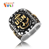 AMGJ Punk Style 316L Stainless Steel Rings USA Soldier USA Navy Anchor Men Titanium Steel Rings