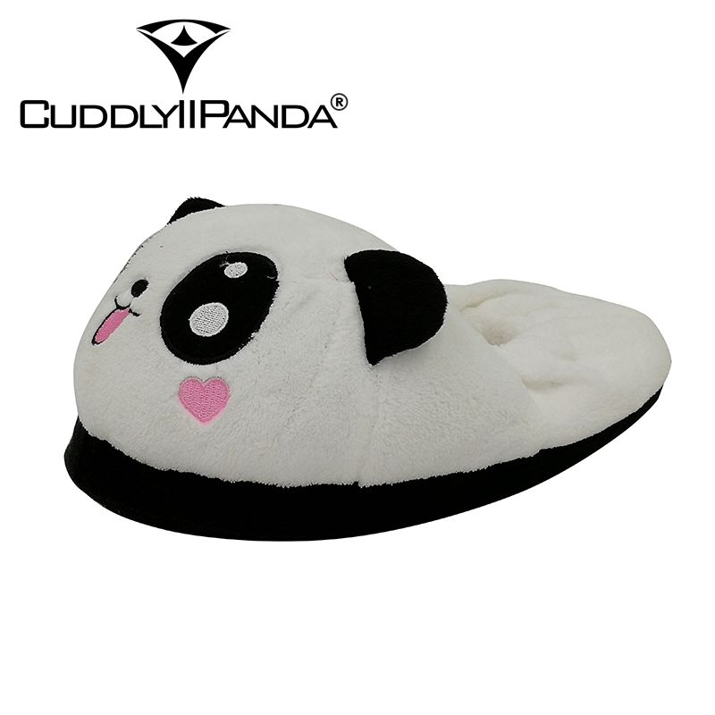 CUDDLYIIPANDA Winter Warm Women Slippers Panda Plush Home Slippers Soft Bottom Non-slip Cotton Slippers Shoes Free Size 35-38 men winter soft slippers plush male home shoes indoor man warm slippers shoes