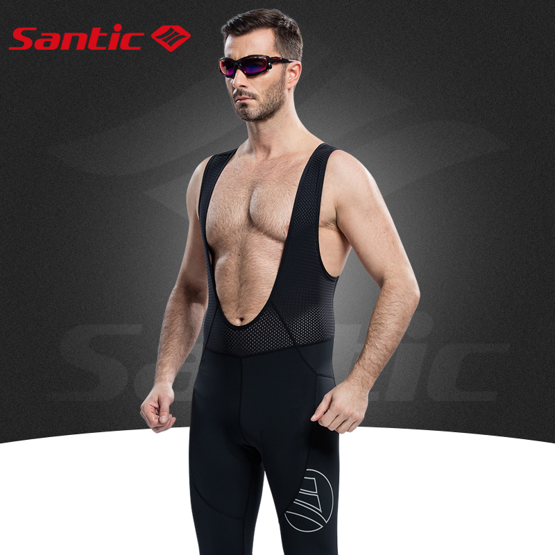 Santic Men Pro Cycling Long Bib Pants Padded Black Cycling Bib Shorts Pants Spring Bicycle Cycling Bike Breathable M5C05061H santic men cycling bib shorts bibs 4d padded for long distance rides comfortable breathable quick dry bike bicycle bib shorts