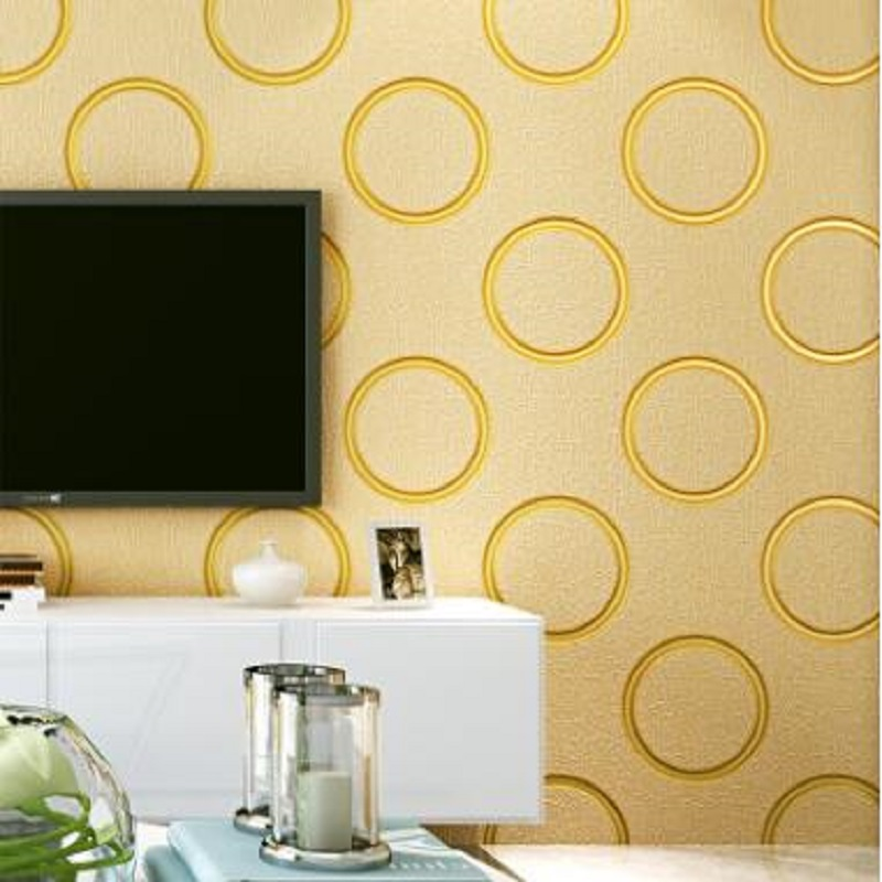 Circle Wallpaper 3D Gold White color wallpaper moder living room TV background Wallpaper Roll Home decoration