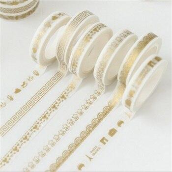 1 x golden slim decoration 8 mm X 7 m Kawaii washi tape children diy Diary decoration masking tape stationery scrapbooking tools Office Adhesive Tape