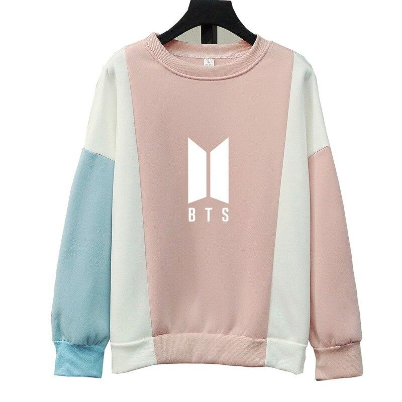 Mode Harajuku Kpop BTS GOT7 EXO Wir Sind Eine K Pop Kleidung Kawaii Rosa Blau Patchwork Hoodie Sweatshirts Frauen Pullover tops