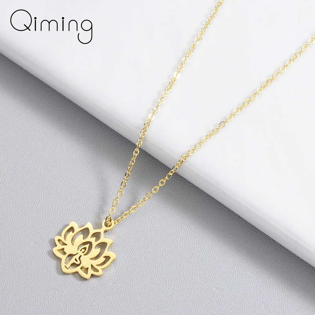 New Yoga Lotus Pendant Necklace Women Stainless Steel Jewelry Buddhism Water Lily Indian Vintage Boho Necklaces Female
