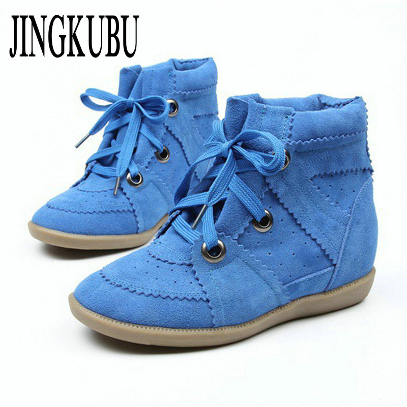 JINGKUBU Women Blue Cow Suede Ankle Boots Female Increased Platform Short Boots Lcae Up Sneakers Casual Shoes Woman Botas Mujer