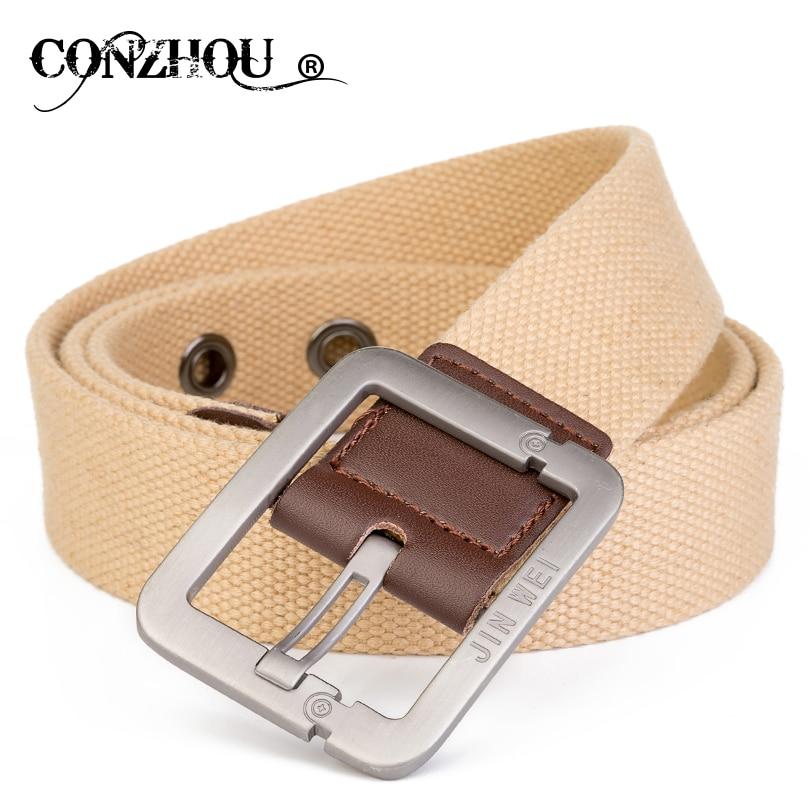 CONZHOU cinturones para hombres Beige hombres cinturón para Jeans Pin hebilla  cinturón de lona de alta calidad de los hombres masculinos pantalones  Correa ... c2c1f760a4ee