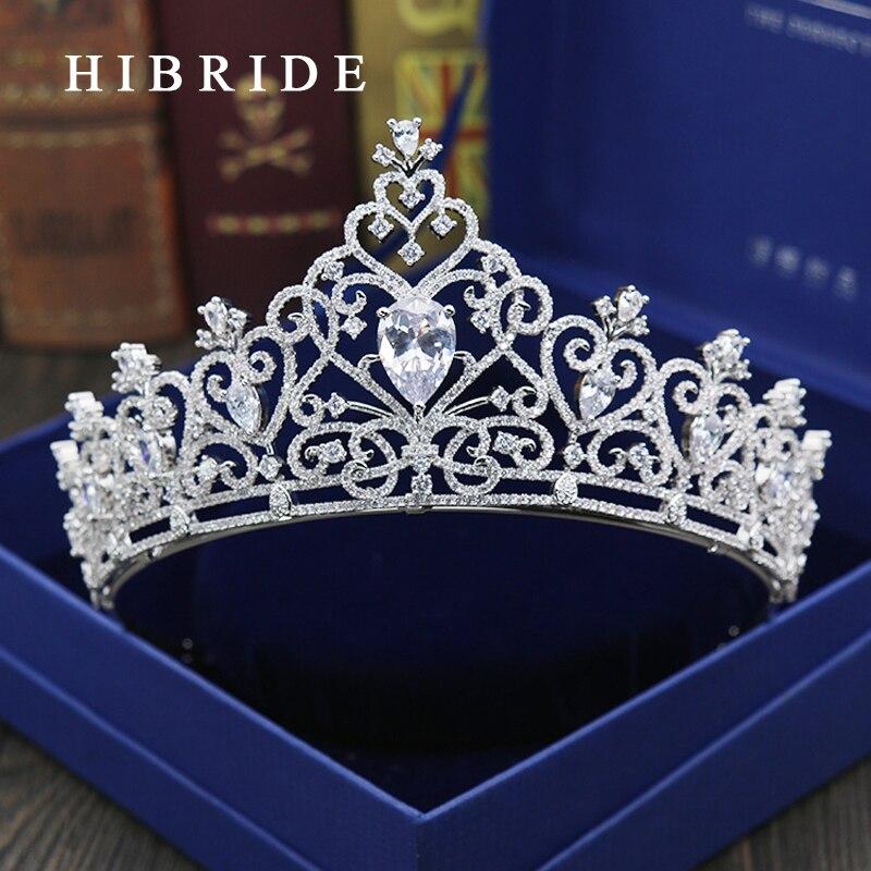 Bandeaux de luxe en zircone cubique couleur argent feuille CZ couronne de diadème de mariage mariée reine princesse couronne accessoires de cheveux