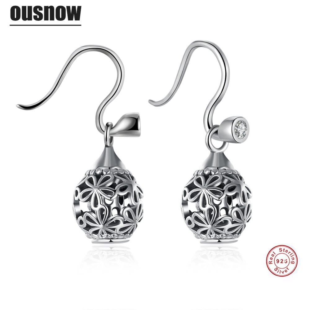 2017 Ousnow Classic Fashion Jewelery Womens Earrings 100% 925 Sterling Silver Round High Quality Lady Earrings Party Preferred