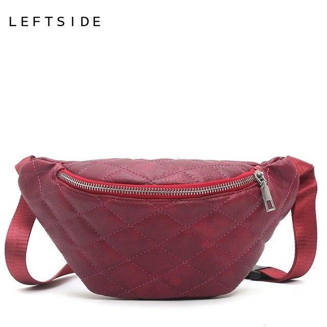 LEFTSIDE Fanny Pack Waist Bag For Women 2018 Lingge Belt Bags Leather Solid color Chest Handbag Female Small Shoulder Bags Lady
