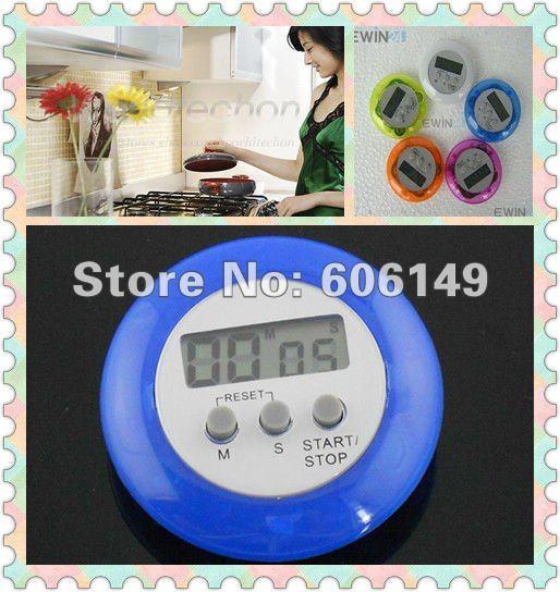 200 шт мини цифровой кухонный таймер, обратный Отсчет Секундомера, клипса для приготовления пищи, ЖК-дисплей