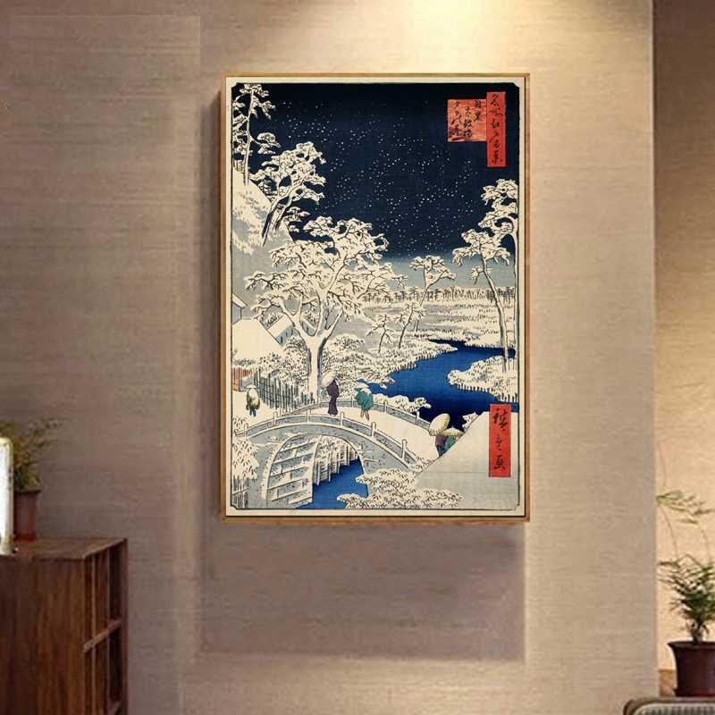 Японский традиционный Пейзаж Плакат холст Художественная печать, японский стиль холст живопись Настенная картина домашний Декор стены