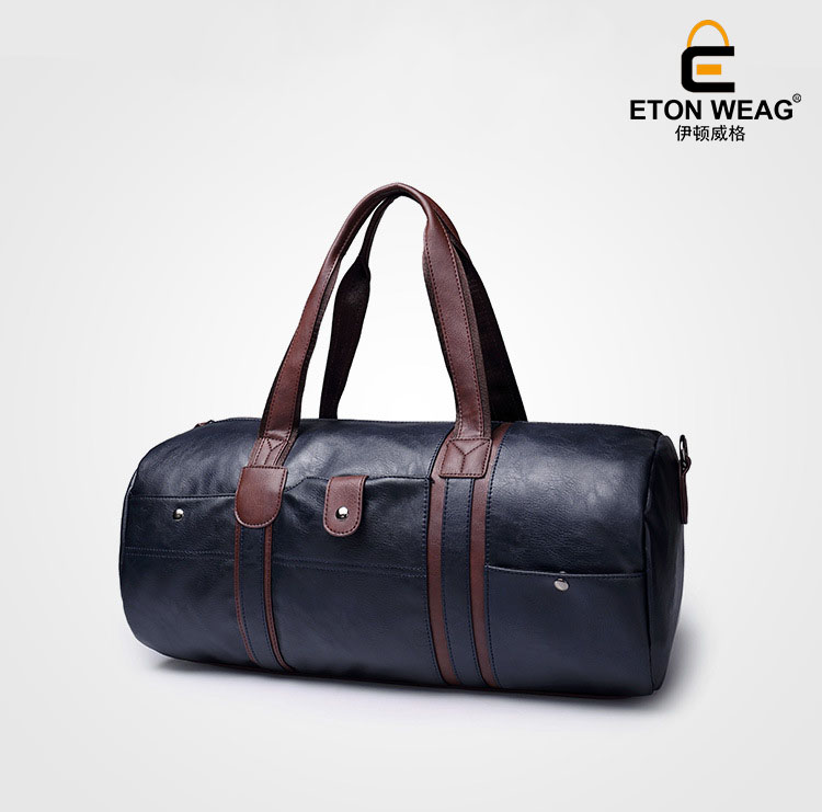 ETONWEAG New 2018 men brands leather blue big capacity vintage casual multi-functional organizer bags zipper travel duffle bags functional capacity of mango leave extracts