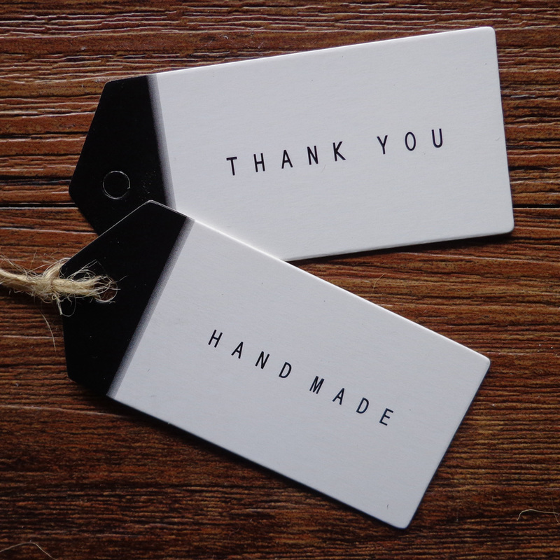 50pcs Thank You Handmade Black And White Gift Tag Paper Hang Tags Handmade Thank You Kraft Tags DIY Label 6.5x3cm