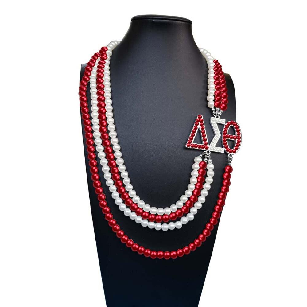 Topvekso Grecia hermandad Africana Color perla DST Multilayer declaración joyería Delta Sigma Theta collar de perlas