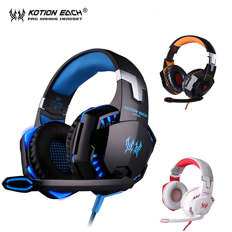 Kotion each G2000 Gaming Headset gamer luminous earphones wired gaming headphone with Microphone headphones for computer