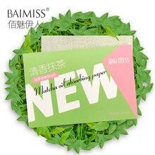 Абсорбирующая бумага BAIMISS Matcha, впитывающие масло листы, Глубокое Очищающее средство для лица, средство для контроля жирности, средство для удаления черных точек, лечение акне, 100 шт