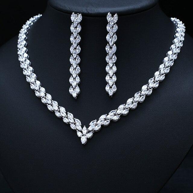 d95e734834a08 النيكل الحرة المرأة نيجيريا العصرية أبيض اللون الصرفة مكعب الزركون زهرة طقم  مجوهرات لحفل الزفاف