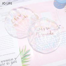 JO LIFE Nordic Style Shell Glass Dish Dessert Snack Plate Home Decor Ornaments Jewelry Storage Tray
