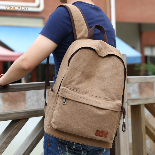 7a3adda7e XINCADA Top Quality Men's Vintage Canvas Backpack Rucksack Laptop Backpack  Shoulder Back Pack School Khaki Backpack Canvas Bags