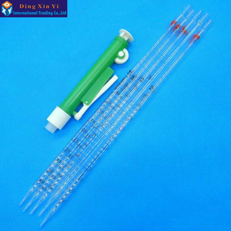 New Arrival! 1pcs 10ml Manual Pipette Pipettor Controller+5pcs 10ml Glass Graduated Pipette Free Shipping