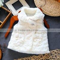 new 2015 Spring and autumn waistcoat kids clothes outerwear girls princess sleeveless vest children all match soft fur coat vest