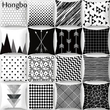 Hongbo Geometric Cushion Cover Black and White Polyester Throw Pillow Case Striped Dotted Grid Triangular Art