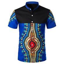 Casual Social Shirts Men Colorblock Stand collar Short sleeve Dress Blouse New