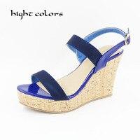 Women Shoes 2016 Summer New Open Toe Fish Head Fashion High Heels Wedge Sandals For Women