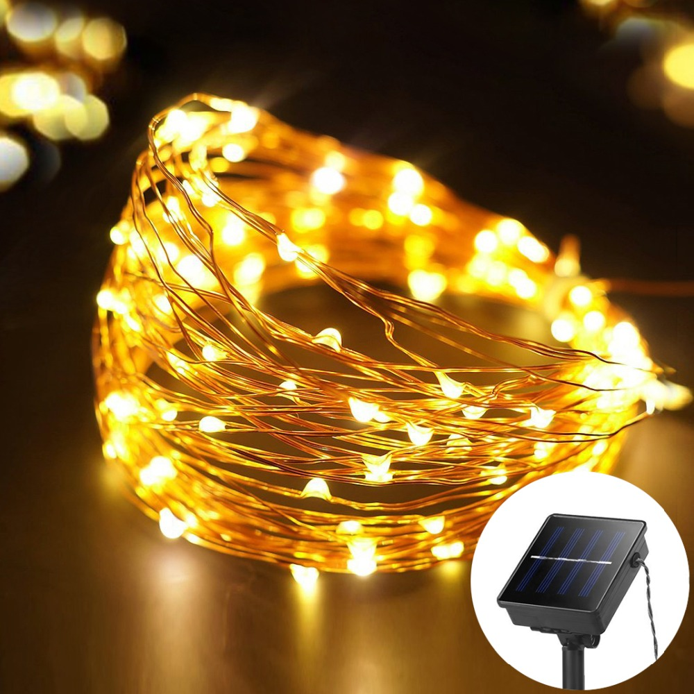solar lights 100 200 leds copper wire string light holiday led lamp guirlande lumineuse. Black Bedroom Furniture Sets. Home Design Ideas