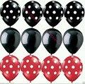12 unids/lote Mariquita Negro Rojo punto Globos de Látex de Mickey Minnie de Cumpleaños de artículos para Fiestas de año nuevo punto de la Onda de globos de látex