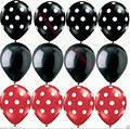 12pcs/lot Ladybug Black Red Latex spot Balloons Mickey Minnie Birthday Party Supply new year latex Wave point globos