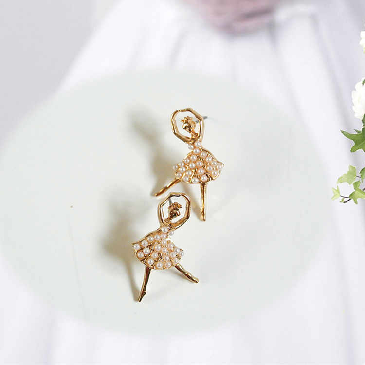 Romantic Cute Fairy Angel Stud Earrings Stimulated Pearl Dancing Girls Dancer Ballerina Earrings Ballet Jewelry Lovely Gifts