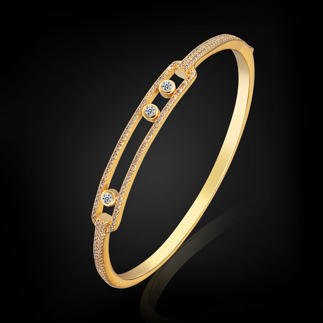 Copper Bangles Brand Bridal Wedding Jewelry Dubai Gold Plated Zircon Bangles & Bracelet For Women Pulseira Feminina Pulseira
