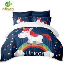 Unicorn מצעים הגדר Multicolor חמוד קריקטורה Duvet כיסוי לילדים ציפית רך נוח מצעים Outlet משלוח זרוק A35