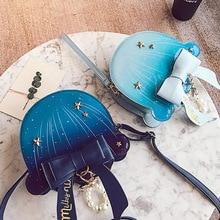 цена на Sweet lolita single shoulder bag pearl chain bowknot printing jellyfish bag gothic lolita bag kawaii girl loli cos