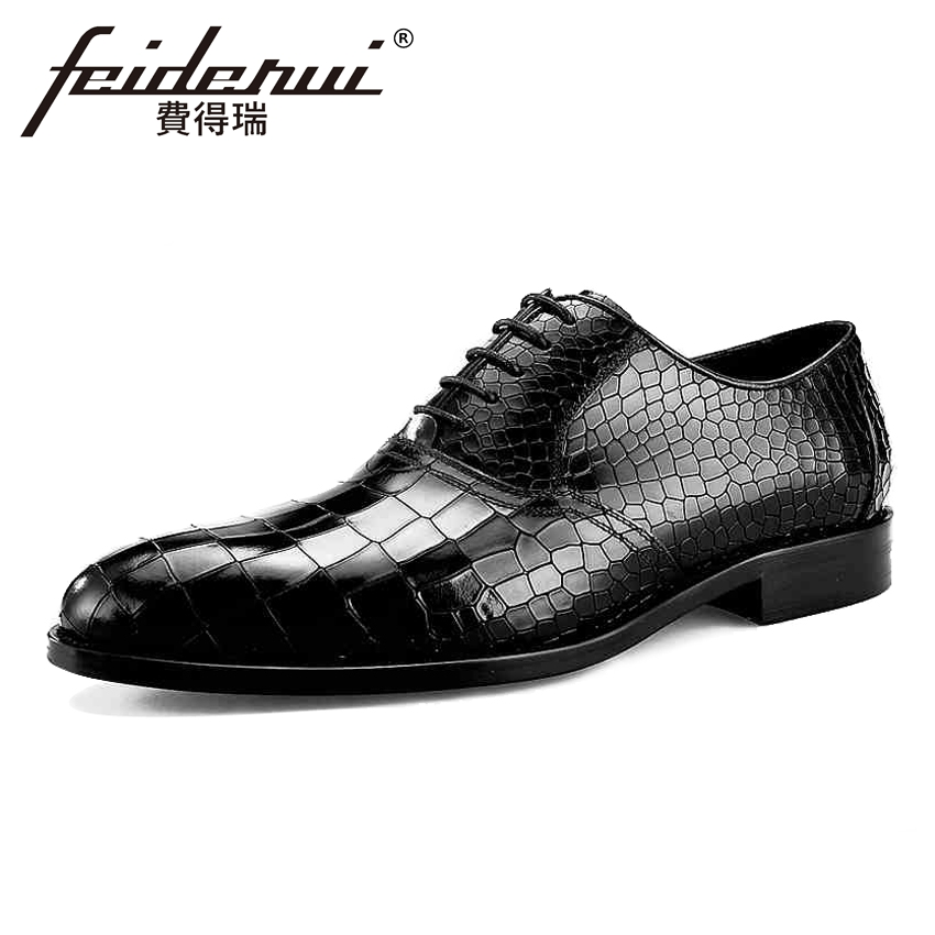 British Designer Genuine Leather Men's Bridal Oxfords Round Toe Lace-up Male Party Flats Formal Dress Handmade Party Shoes BQL33 mycolen high quality genuine leather men s oxfords square toe lace up platform british designer dress wedding flats shoes