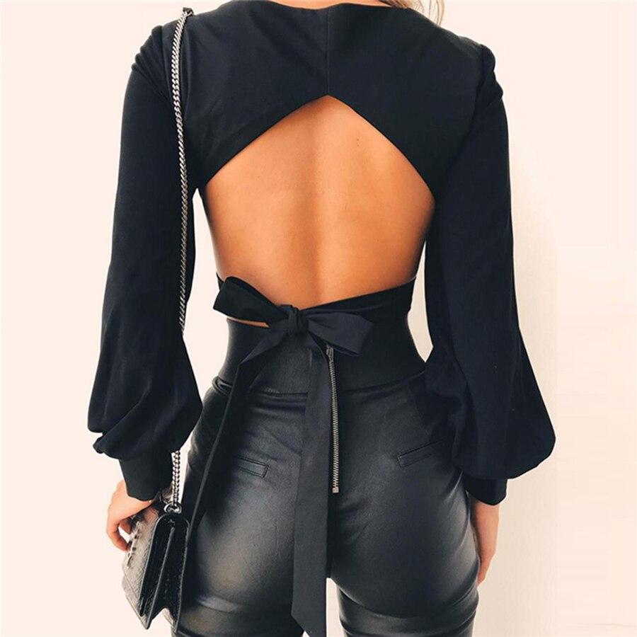 Chemise à manches longues femmes manches bouffantes chemise Slim tricoté solide femmes noir haut mujer Vintage t-shirt Style coréen 60S88