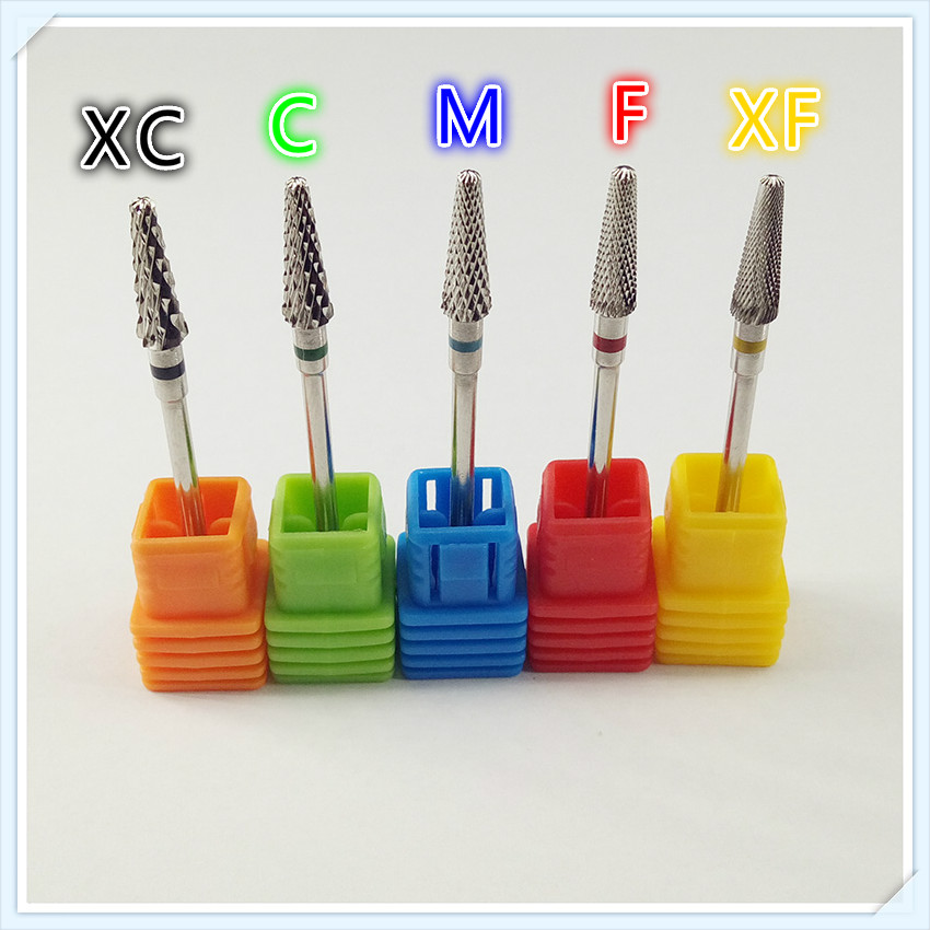 5pcs / set Hot 49mm Silver Carbide Nail Drill Bit Electric Nail File Drill Bit Carbide Drill Nail Art Tools, Nail Nail, Mill